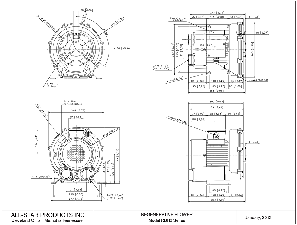 all star products, inc regenerative blower rbh2 series  regenerative blower rbh23 series